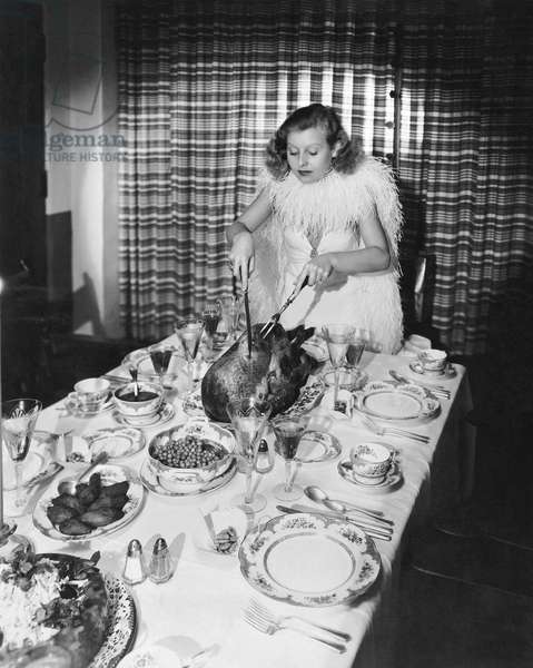 Thanksgiving Dinner Carving, Hollywood, California, c 1932  (b/w photo)