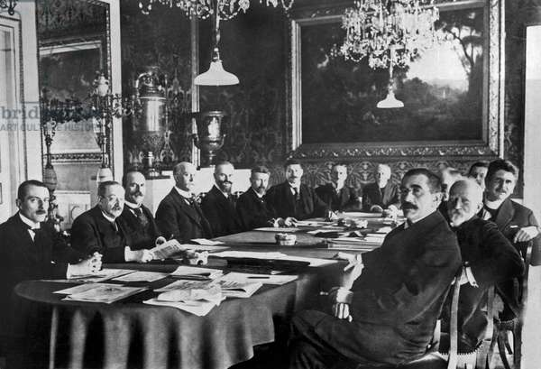 Weimar, Germany: March, 1919 Newly elected at the first National Assembly of the German Republic in the Royal Theatre in Weimar is Chancelllor Scheideman, 4th from left, and his Cabinet.  (b/w photo)