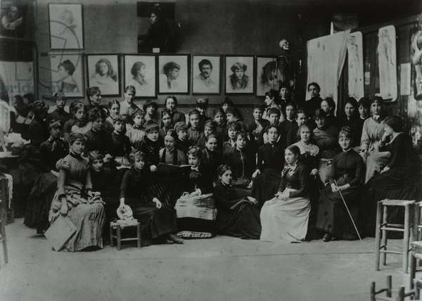 Academie Julian, Paris, group of art students 1885 (photo)