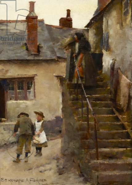 Children in a Newlyn Street (oil on millboard)
