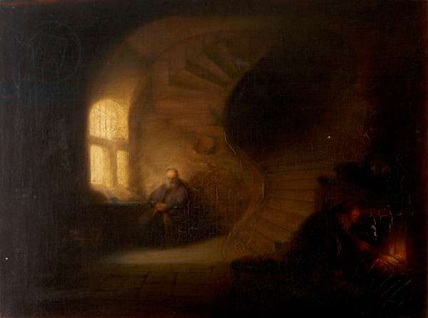 Old Scholar in a Room with a Spiral Stair and Maid stoking Fire (after Rembrandt)