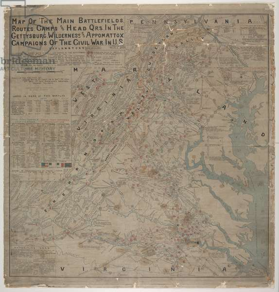 Map of the main battlefields, routes, camps and head qrs., in the Gettysburg, Wilderness and Appomattox campaigns of the Civil War in U.S, by Joshua Smith, c.1899 (colour litho)