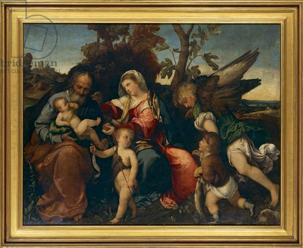 Holy Family with the Child Baptist, the Archangel Raphael and the boy Tobias by Bonifacio Veronese, oil on canvas,  circa 1525-1530