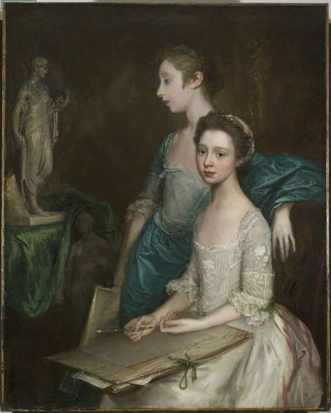 Portrait of the Artist's Daughters, c.1763-64 (oil on canvas) (see also 3963037)