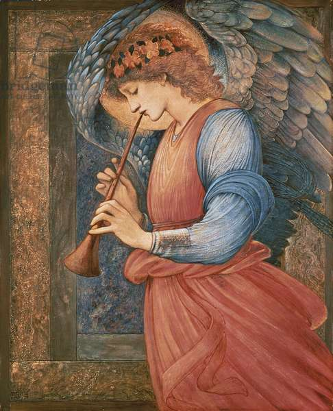 An Angel Playing a Flageolet, 1878 (w/c, gouache and gold on paper)