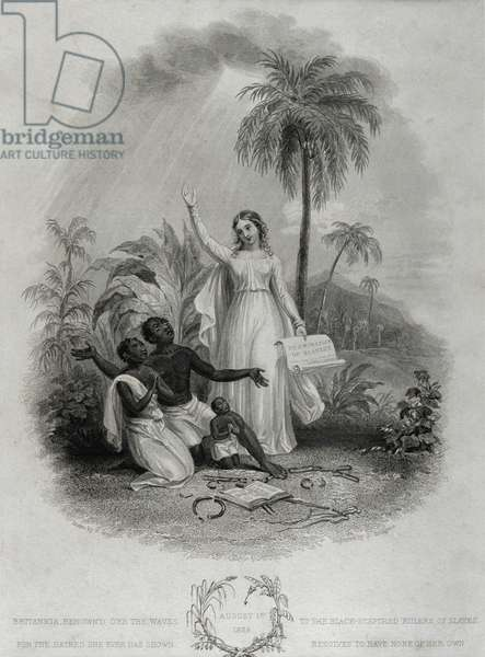 Britannia Giving Freedom to Poor African Slaves, engraved by J. Bridgens, 1838 (engraving)