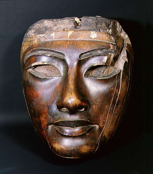 Wooden coffin mask