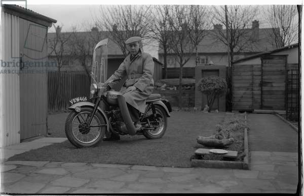 Reg Bull's new Triumph 200cc Tiger Cub motorcycle. Purchased 2 Jan 1958 from Brandish's of Cox Street, Coventry.