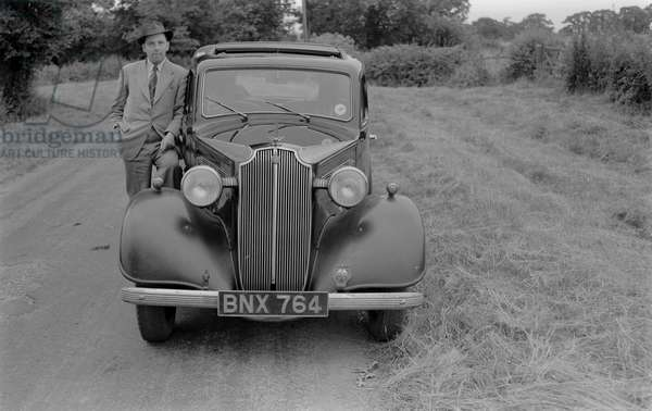 Cyril Bull (Reg Bull brother) and his Vauxhall 12/6 Registration BNX 764 near Burton Hastings. 2 August 1951