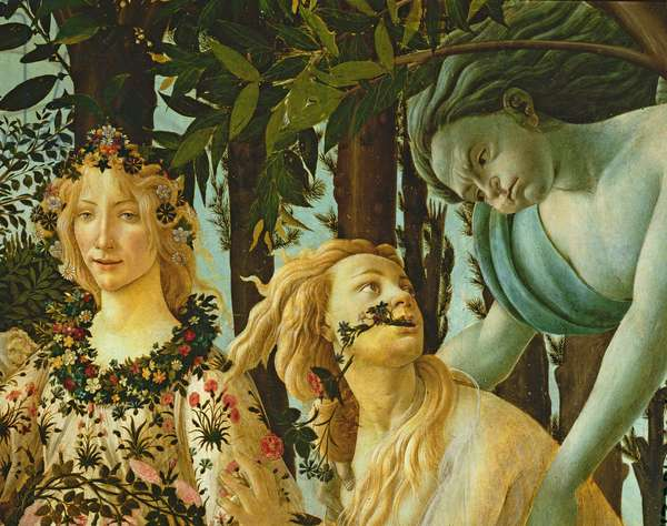 Primavera, detail of Flora and Zephyr, c.1478, (tempera on panel) (detail of 558)
