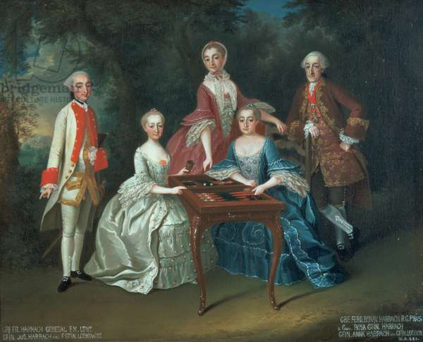 Group portrait of the Harrach family playing backgammon including General Count Ferdinand Harrach, Count Ferdinand Bonaventura Harrach with Rosa, Anna and Josephine