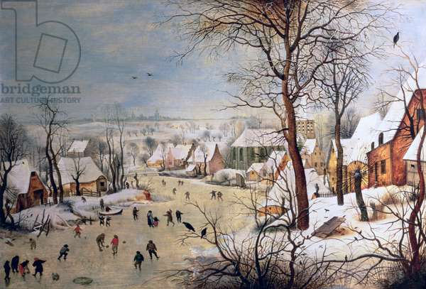 Winter Landscape with Birdtrap, 1601 (oil on panel)