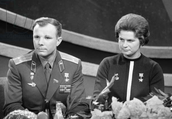 The cosmonauts Yuri Gagarin and Valentina Tereshkova (b/w photo)