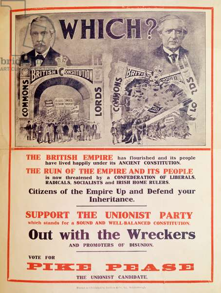 Unionist Party Poster for the British General Election of January 1910 (colour litho)