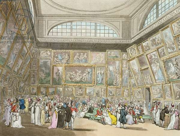 Exhibition Room, Somerset House, from 'Ackermann's Microcosm of London', 1808 (coloured aquatint)