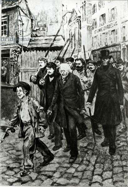 Gavroche Leading a Demonstration, illustration from 'Les Miserables' by Victor Hugo (oil on canvas) (b/w photo)
