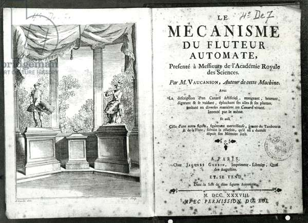 Automatons, illustration of the frontispiece from 'Le Mecanisme du fluteur automate' by Jacques de Vaucanson, engraved by Francois Vivares (1709-80) 1738 (engraving) (b/w photo)