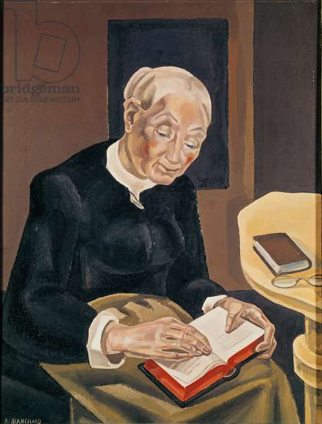 The White-Haired Reader (oil on canvas)
