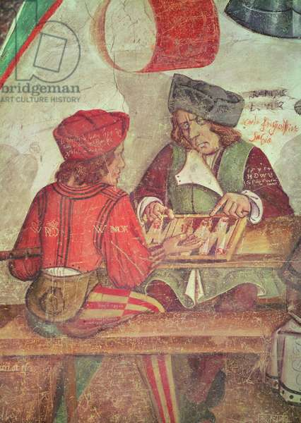Interior of an Inn, detail of backgammon players (fresco)