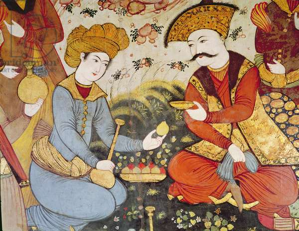 Shah Abbas I (1588-1629) and a Courtier offering fruit and drink (detail) (fresco)