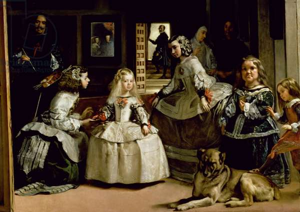 Las Meninas, detail of the lower half depicting the family of Philip IV (1605-65) of Spain, 1656 (oil on canvas) (detail of 405)