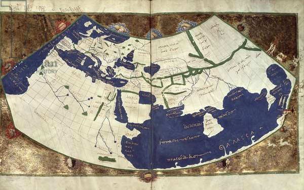 Map of the known world, from 'Geographia' (vellum)