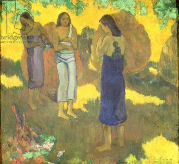 Three Tahitian Women against a Yellow Background, 1899 (oil on canvas)