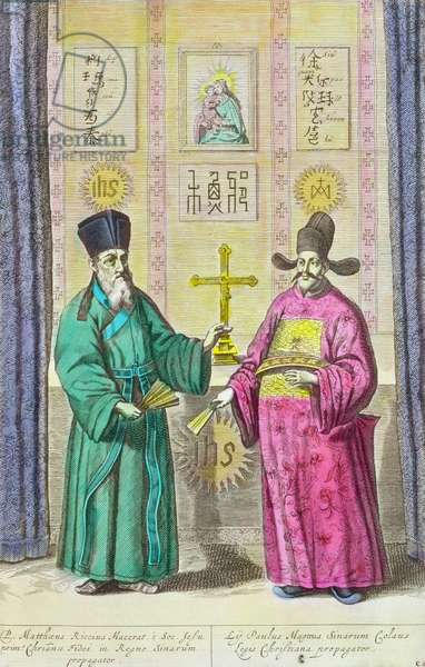 Matteo Ricci (1552-1610) and another Christian missionary to China, from 'China Illustrated' by Athanasius Kircher (1601-80) 1667 (later colouration)