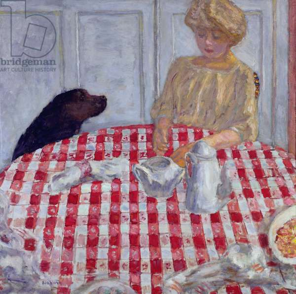 The Red Checked Table Cloth, or The Dog's Dinner, 1910 (oil on canvas)