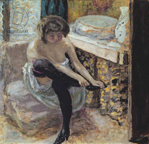 Woman with Black Stockings or, Woman at her Toilet, c.1900 (oil on card)
