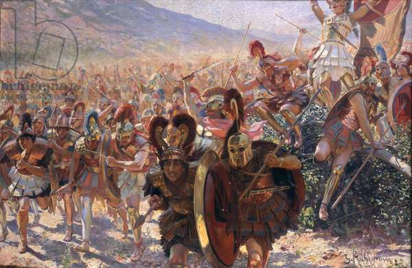 Ancient Warriors (oil on canvas)