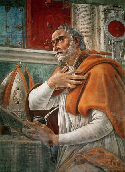 St. Augustine in his Cell, c.1480 (fresco) (detail of 29143)