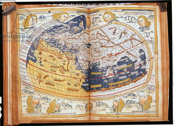 Map of the world, 1486 (coloured engraving)