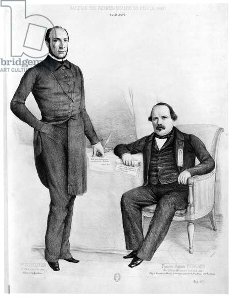 Victor Schoelcher (b.1804) and Francois-Auguste Perrinon (b.1822) deputies of Guadeloupe and Martinique, 1849 (engraving) (b/w photo)