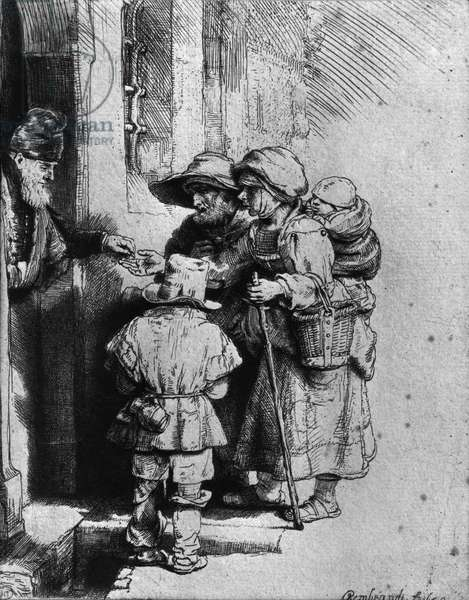 Beggars on the Doorstep of a House, 1648 (etching) (b/w photo)