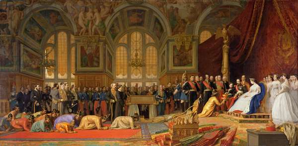 The Reception of Siamese Ambassadors by Emperor Napoleon III (1808-73) at the Palace of Fontainebleau, 27 June 1861 (oil on canvas)