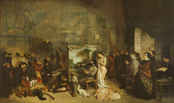 The Studio of the Painter, a Real Allegory, 1855 (oil on canvas)