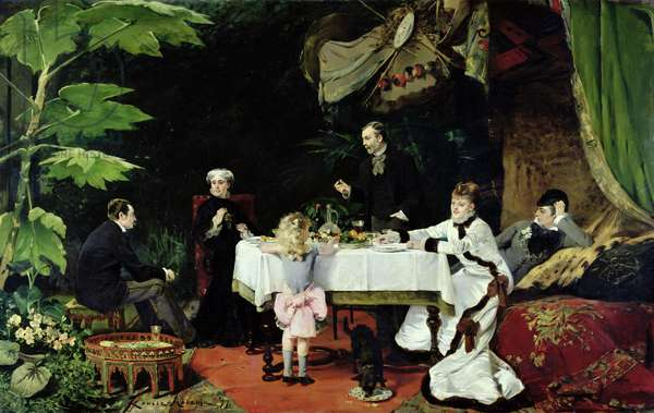 The Luncheon in the Conservatory, 1877 (oil on canvas)
