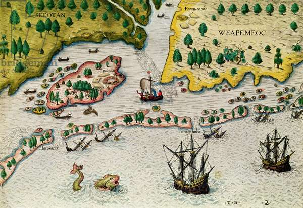 The Arrival of the English in Virginia, from 'Admiranda Narratio..', 1585-88 (coloured engraving)