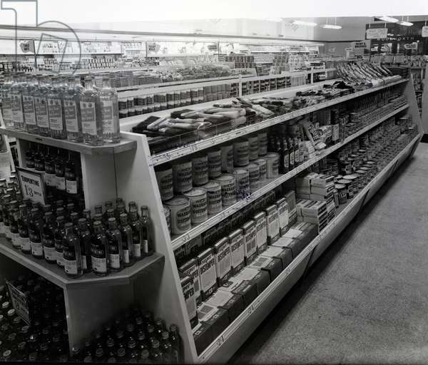 Paint and brushes aisle, Woolworths store, 1956 (b/w photo)