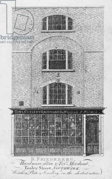Trade card for B. Friedeberg, Southwark hardware merchant