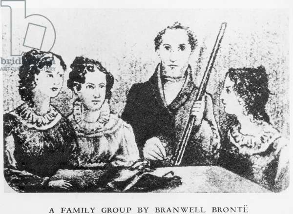 The Bronte Family (engraving) (b&w photo)
