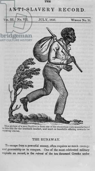 The Runaway, page from the 'Anti-Slavery Record',1837 (litho) (b/w photo)