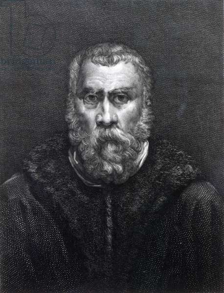 Tintoretto, engraved by Delaistre (engraving) (b/w photo)