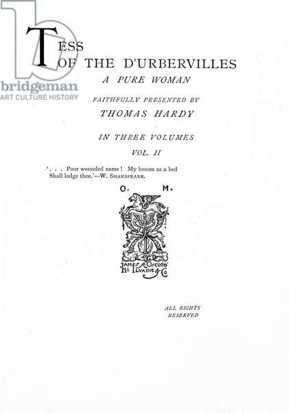 Title page to 'Tess of the D'Urbervilles' by Thomas Hardy, edition published in 1892 (printed paper)