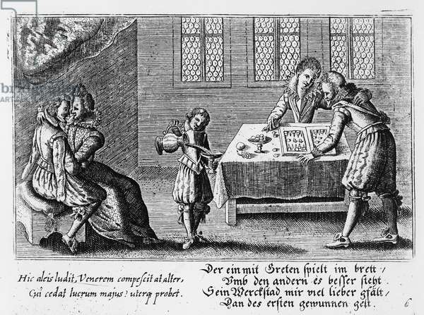 People Playing Backgammon (engraving) (b/w photo)
