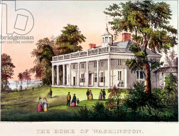 The Home of George Washington, Mount Vernon, Virginia, published by Nathaniel Currier (1813-88) and James Merritt Ives (1824-95) (colour litho)