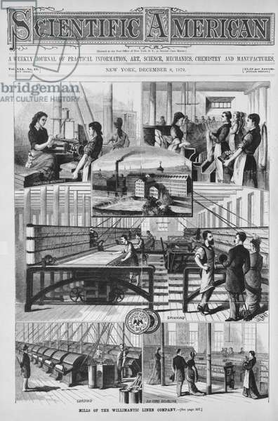 Mills of the Willimantic linen company, illustration from the 'Scientific American' 6th December, 1879 (engraving)
