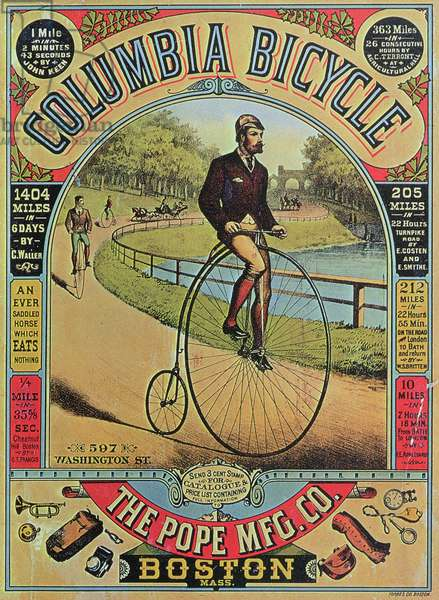 Advert for the Columbia Bicycle by The Pope MFG Co., Boston (colour litho)