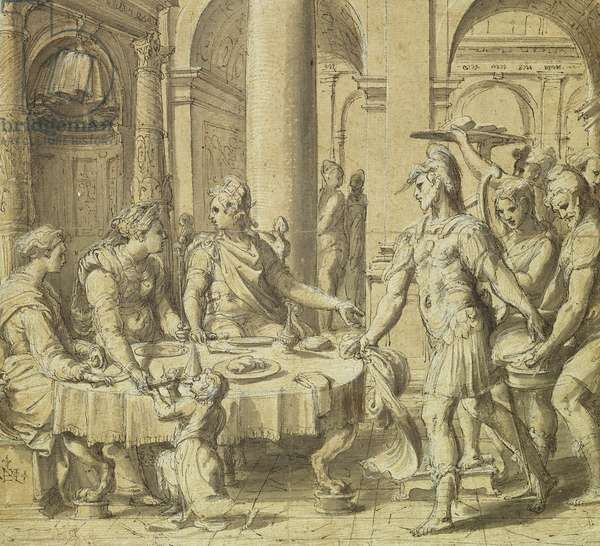 The Banquet of Dido and Aeneas, model for a tapestry in the Story of Aeneas series, c.1532 (pen & ink & wash on paper)